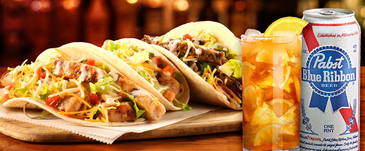 tacos, long island iced tea, and PBR beer