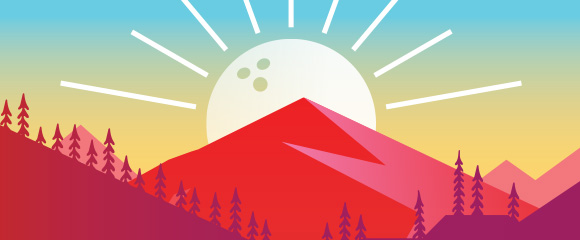 graphic of bowling ball depicted as a sun rising behind a mountain