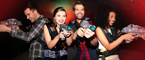 friends playing laser tag