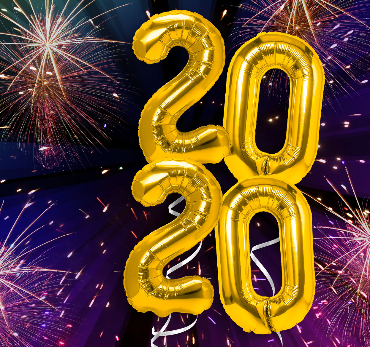 2020 balloons with a firework background