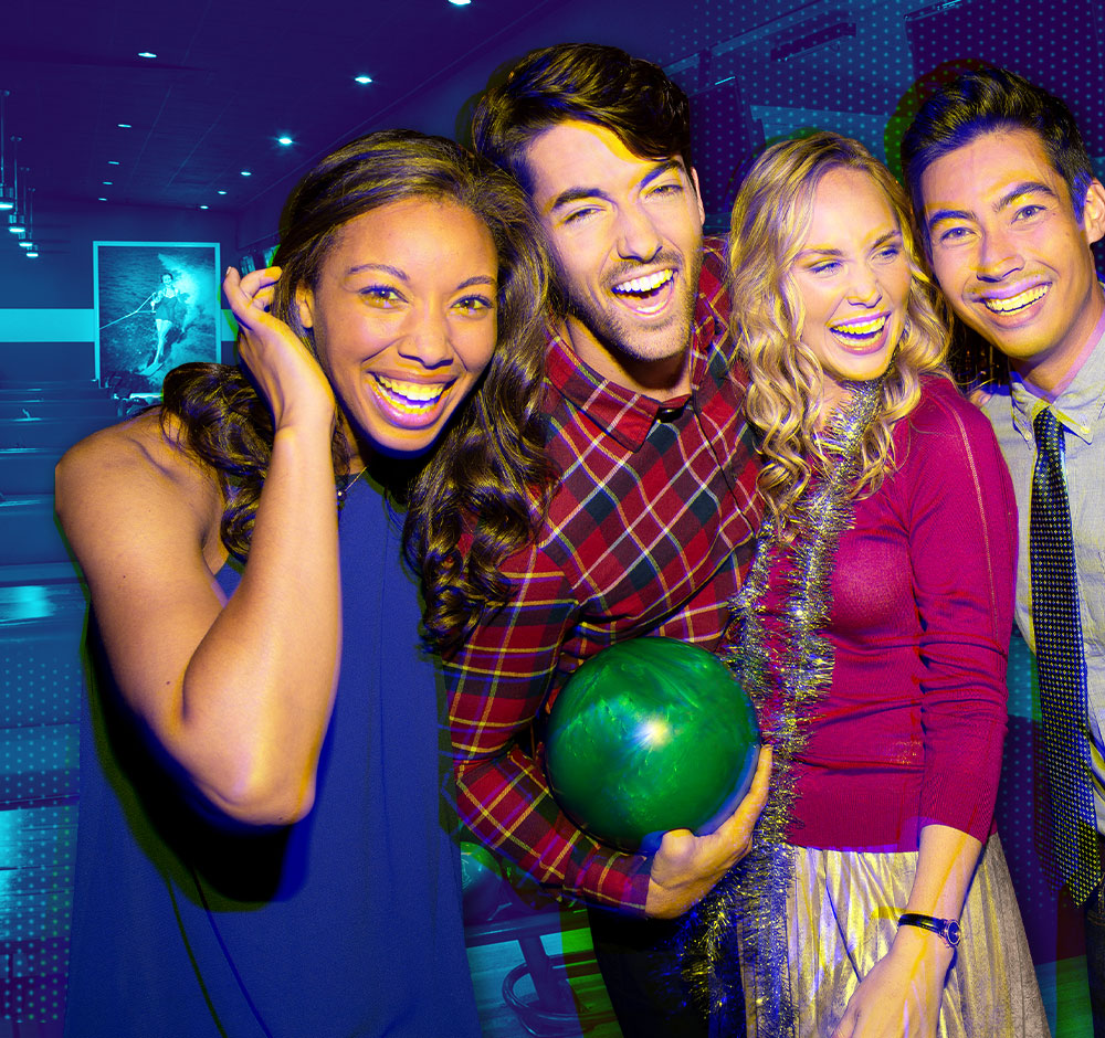 group of people holding bowling balls in front of a stylized background