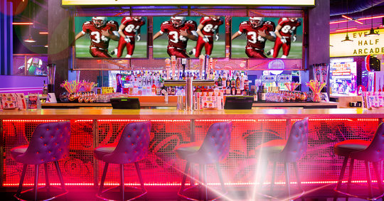 Sports bar with neon lighting