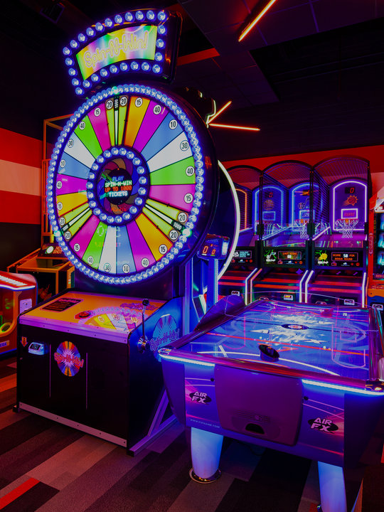 giant wheel arcade game and air hockey