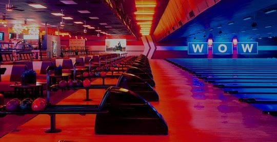 view of lanes lit red