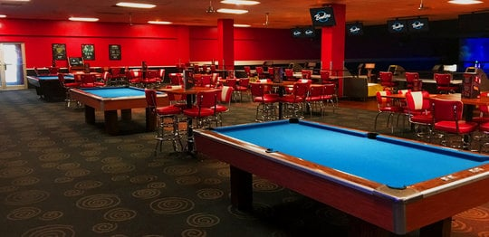 Blue billiards tables