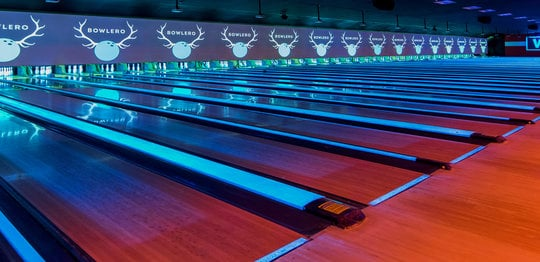 Lanes with neon lighting