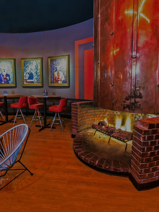 Fire pit and lounge at Bowlero Torrance