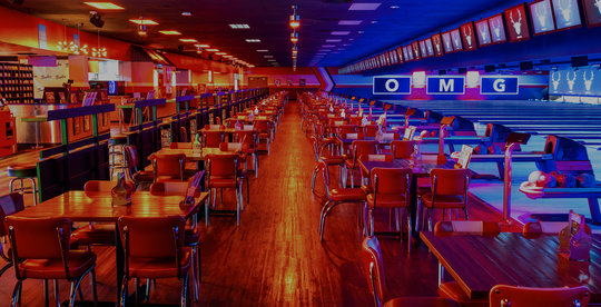 bowling shoe rental, tables, and bowling lanes