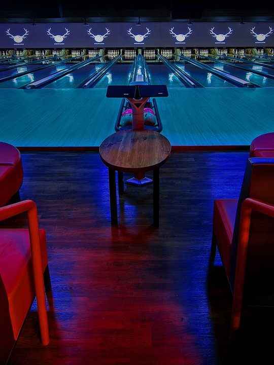 Front view of lanes at Bowlero Wauwatosa