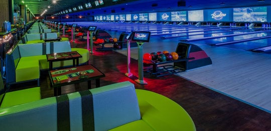 Lanes and seating at Bowlero The Woodlands