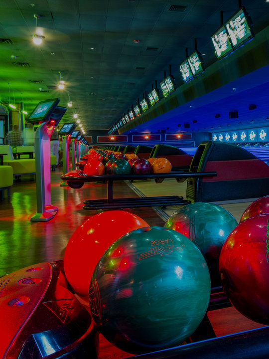 lanes and ball returns at Bowlero The Woodlands
