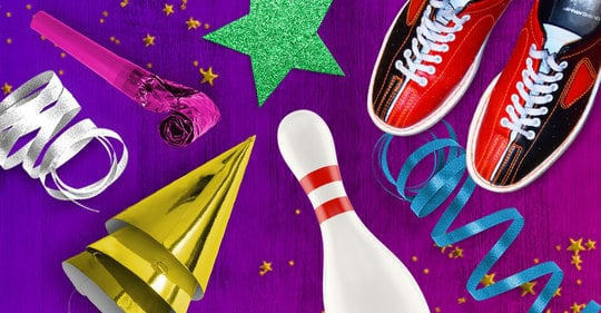 Bowling pin, bowling shoes, a party hat, confetti and a green star on a purple background