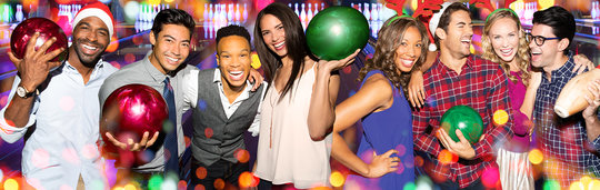 holiday stylized image of coworkers with bowling balls