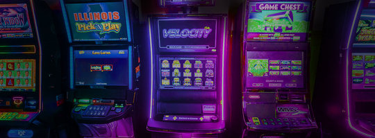 video gambling screens, lit in neon