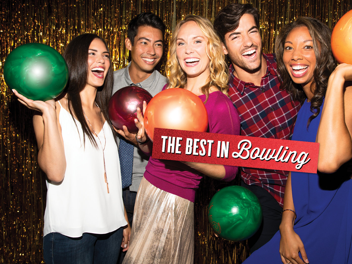 Group of 5 young adults with bowling balls. It reads 'The best in bowling' on red foil on top