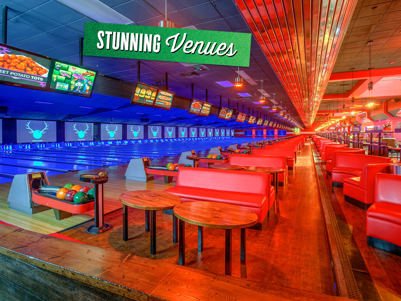 Bright picture of a bowling alley's seating area and lanes. On top it says 'Stunning venues' on green foil