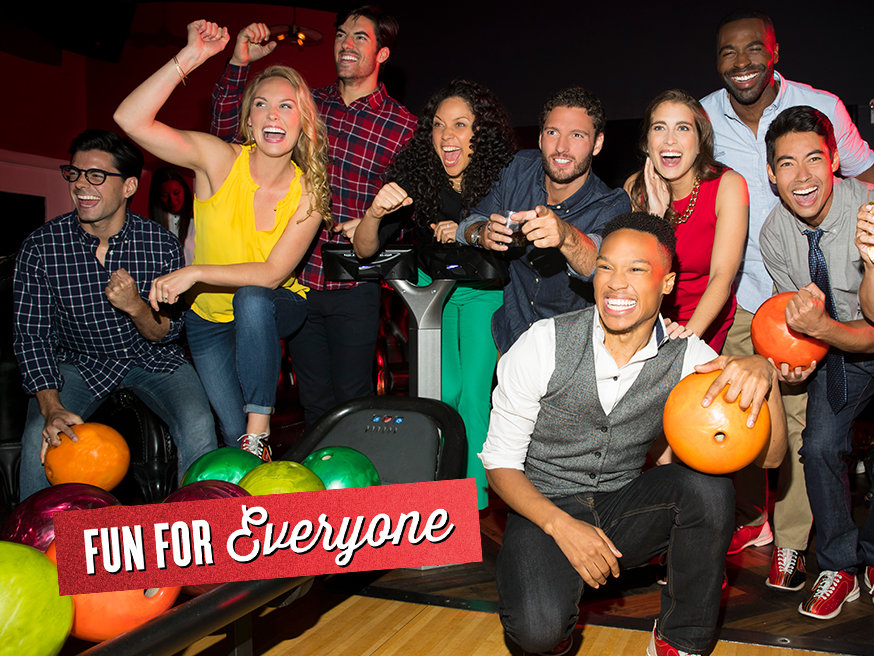 Group of young adults bowling. It reads 'fun for everyone' on red foil on top