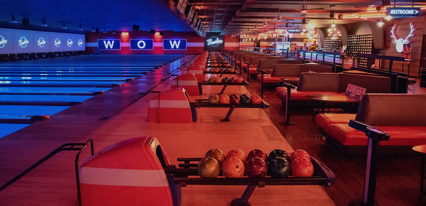 Shot of lanes, ball returns, and comfy seating