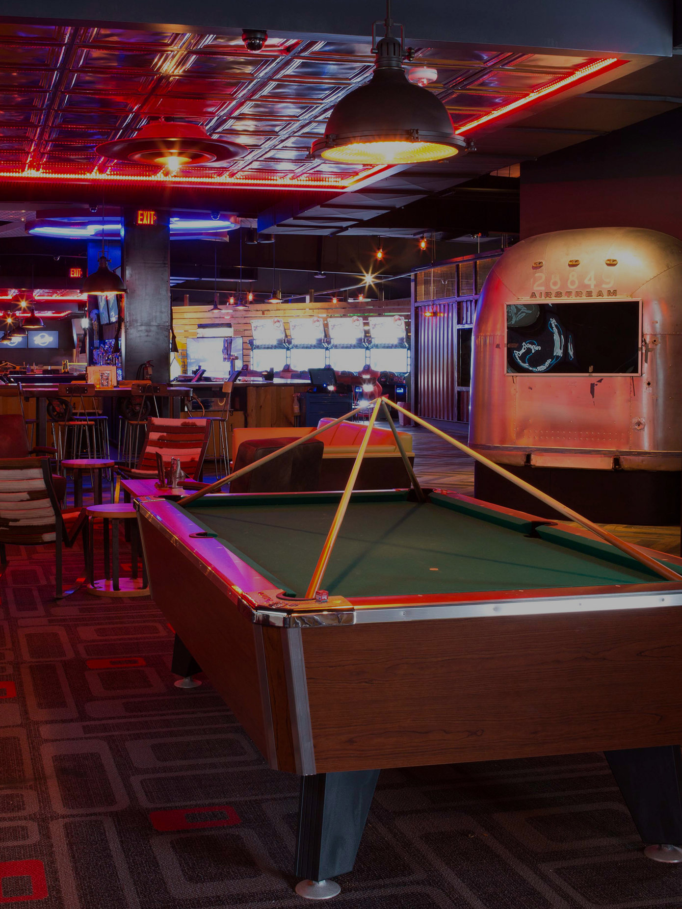 billiards and bar area