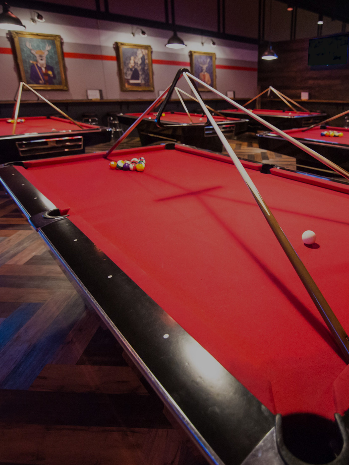 Red billiards tables