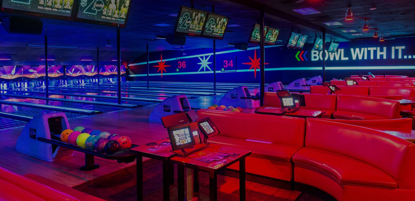 Lanes and plush red couches at Bowlero Wallington