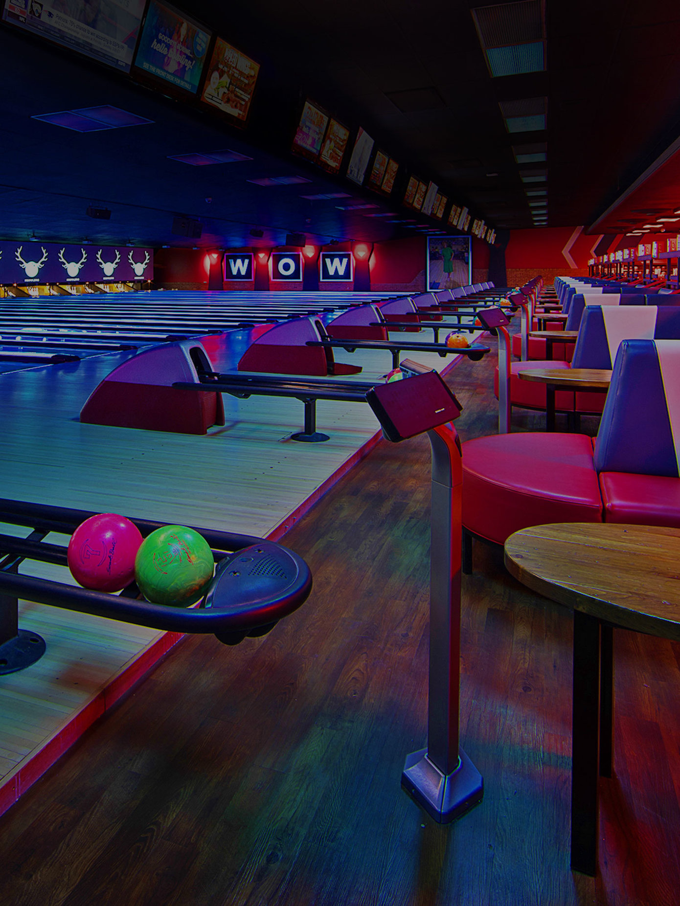 Lanes and ball returns at Bowlero Wauwatosa