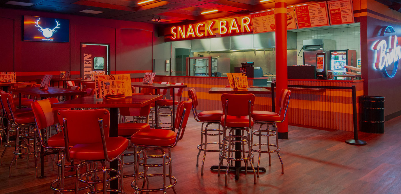 Snack bar and dining area at Bowlero West Covina