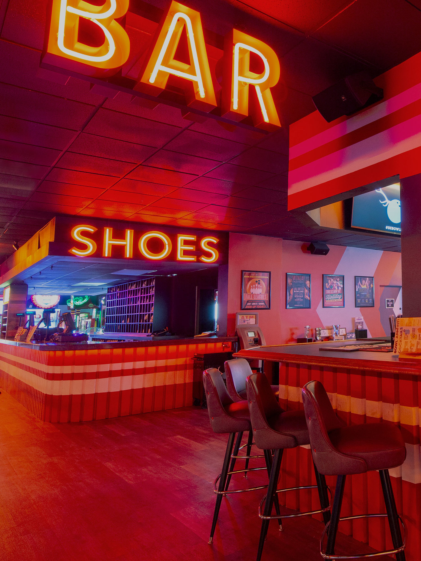 Bar and shoe desk at Bowlero West Covina