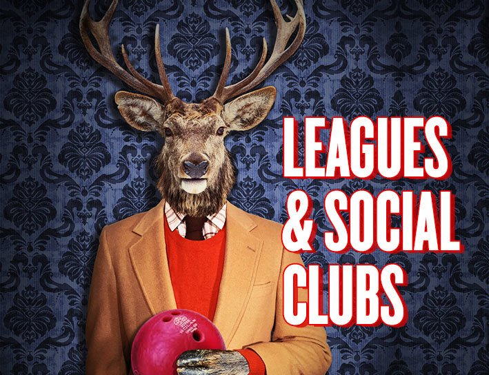 Leagues & Social Clubs. illustration of an anthropomorphic elk wearing a suit and holding a bowling ball
