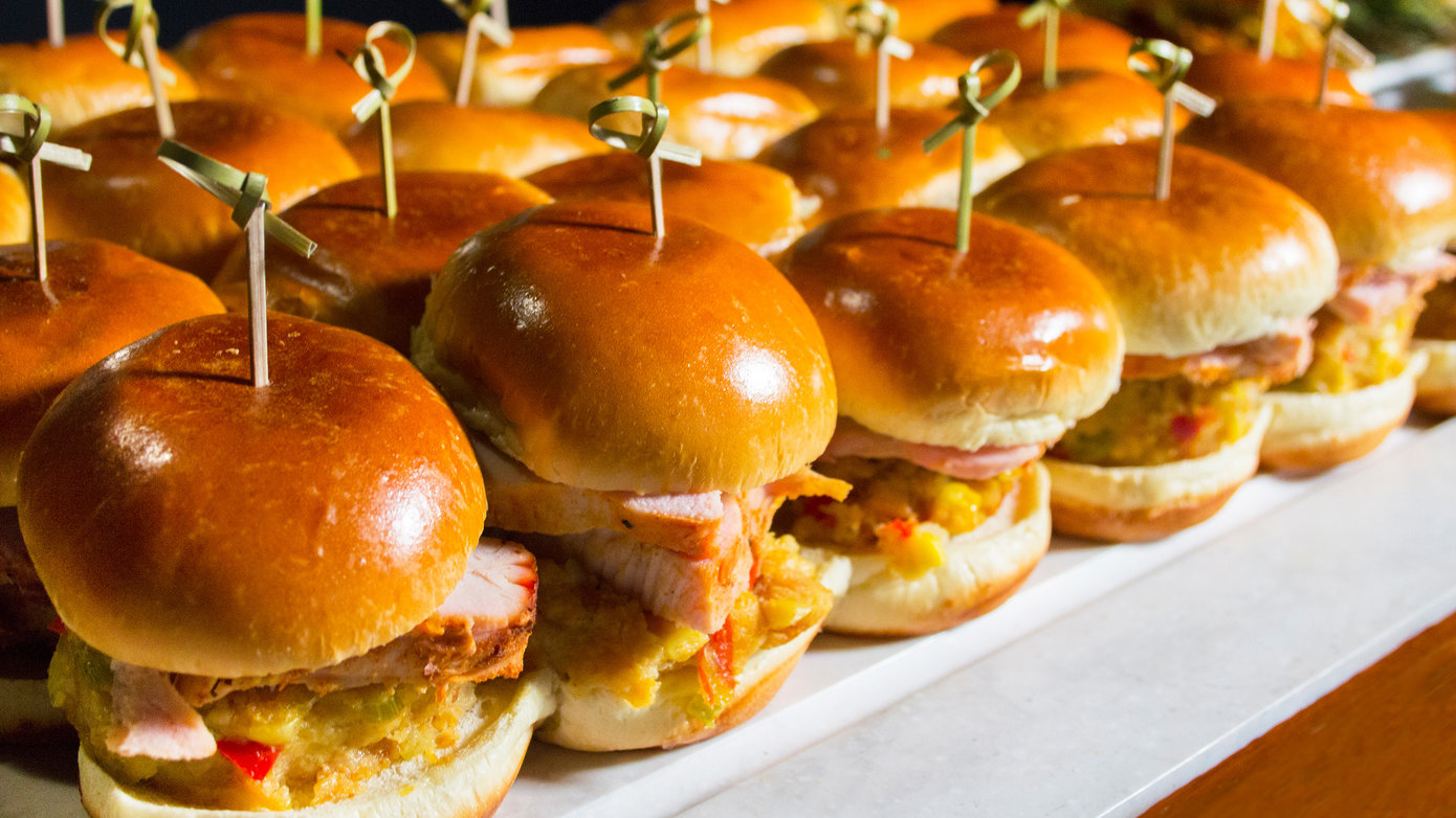 Tray of roasted turkey sliders