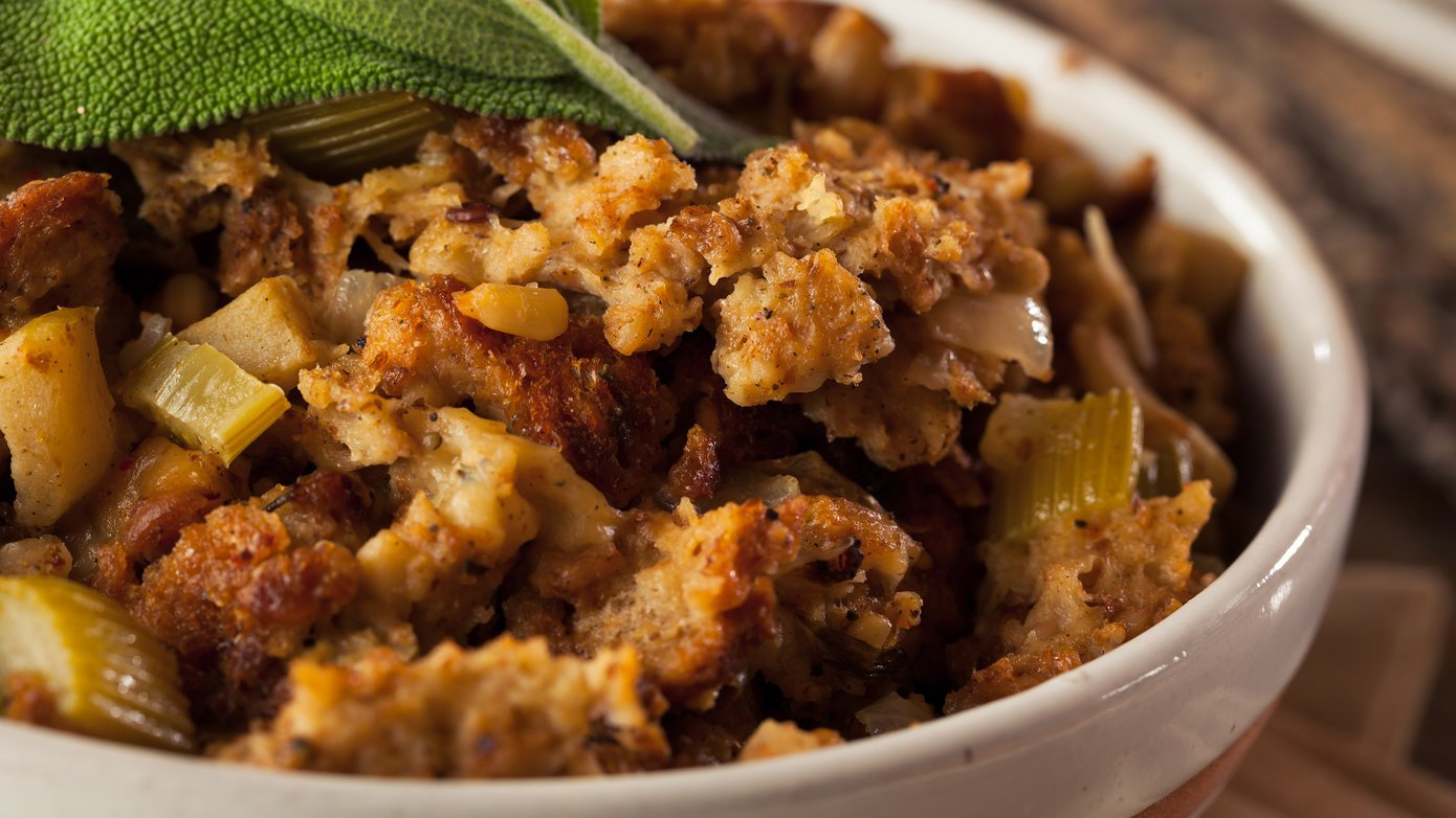 Cornbread stuffing in a bowl
