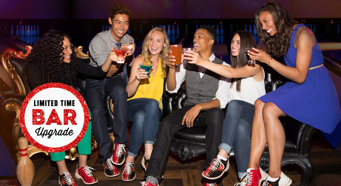 adults enjoying drinks together - burst text: limited time bar upgrade