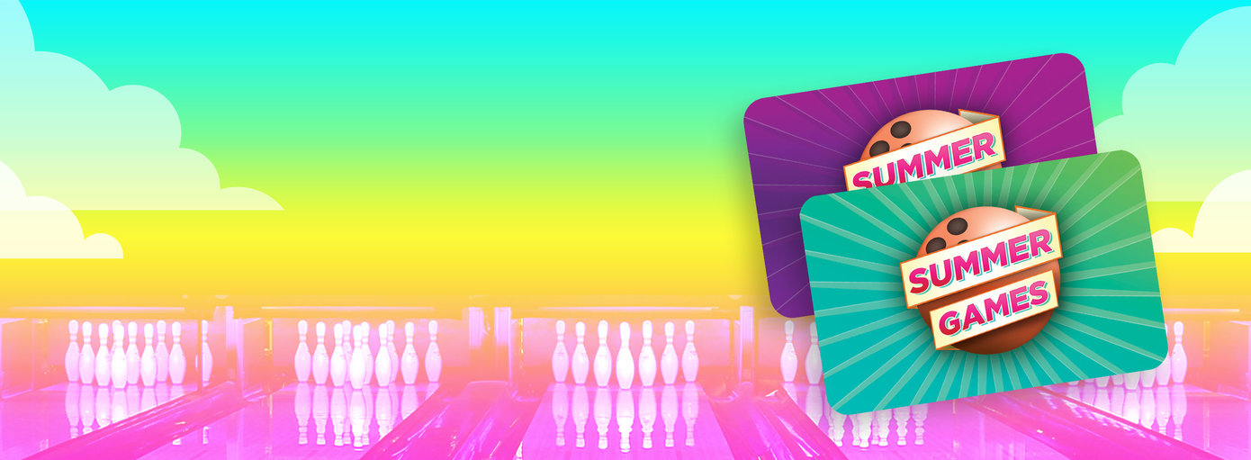 brightly lit background with two summer games passes overlaid on top